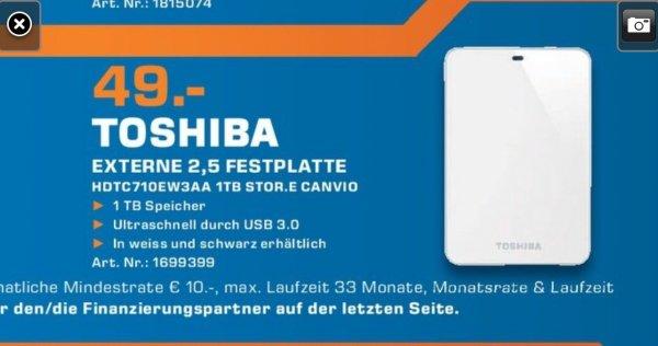 [Saturn Aachen] Toshiba HDTC710EW3AA STOR.E CANVIO externe-Festplatte 1TB (6,4 cm (2,5 Zoll), USB 3.0) weiß