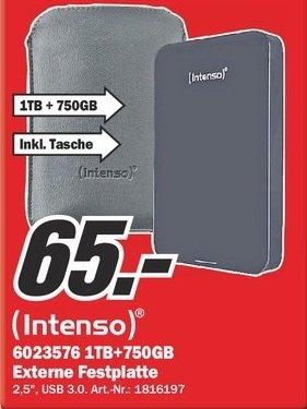 "[MM Stuhr bei Bremen] Externe Festplatte Intenso 1,75 TB / 1750 GB,  2.5"" Zoll, USB 3.0 (Schwarz)  + FestplattenCase kostenlos"