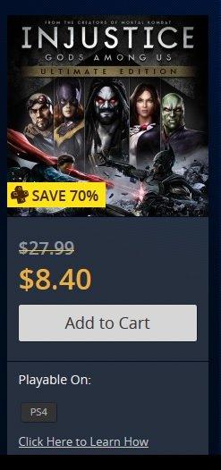 [PS4 [nur PS+Kunden]] Injustice: Götter unter uns - Ultimate Edition für nur 8.40$ (6.20€) im US PSN Store!