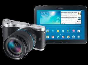 "SAMSUNG NX 300 Schwarz + 18-55mm + Tab 3 10"" Wifi 16GB für 481,99 € @ Saturn Latenight Shopping"