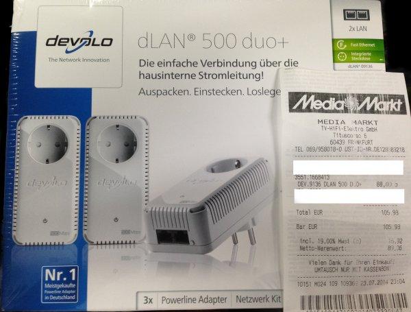 devolo dlan 500 duo+ mit 3 Adaptern für 88€