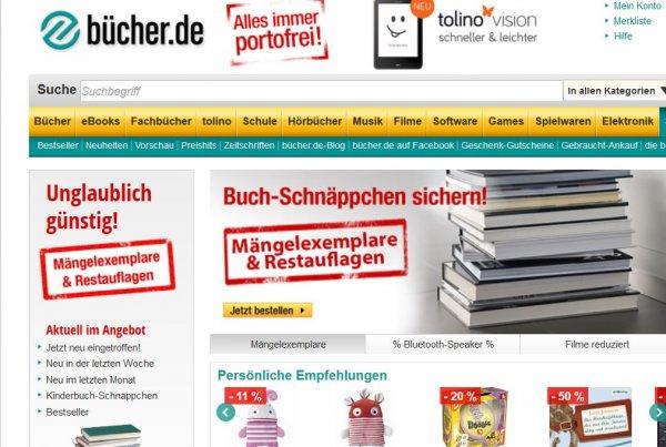 Bücher.de SSV bis zu 80% Rabatt + kostenloser Versand