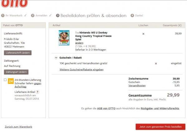Donkey Kong Tropical Freeze oder Wii Sports Club (beides Retail) für je 29,99 € inklusive Versand