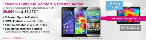 Galaxy S5 + Tab 4 10.1 mit Telekom Complete Comfort S Friends für ca 1,32€/Monat!