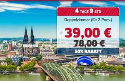 (Köln) Übernachtung im 4* Park Inn Hotel (2 Personen) nur 39€