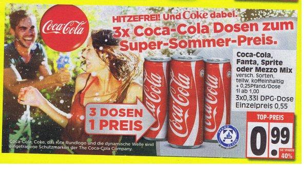[EDEKA ab Montag] 3 Dosen (0,33l) Coca Cola (auch Zero) ,Fanta , Sprite und Mezzo-Mix  für 99 Cent