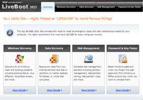 Wondershare LiveBoot 2012: Boot CD mit vielen Tools