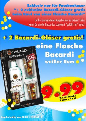 Bacardi weißer Rum + 2 Gläser