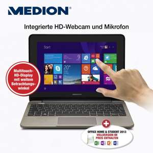 "[ALDI Nord ab 31.07.] 10,1"" Notebook mit Multitouch-HD-Display, HDMI, Windows 8.1, 4 GB RAM 500 GB HDD, MS Office 2013. MEDION® AKOYA® E1232T (MD 99410) für 299 €"