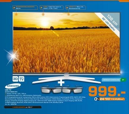 SAMSUNG UE55H6600 im Saturn Bochum zum Hammer Preis 999,- lt. idealo ab 1179,-