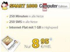 DeutschlandSIM Smart 1000 (250min/250SMS/1GB Flat, o2) für 8,95€/Monat (statt 12,95€); keine AG + VSK