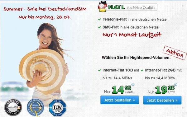 Summer - Sale DeutschlandsSim Flat L 1000 / L2000, Allnet-Flat mit SMS-Flat und 1 / 2 GB Datenflat mit max. 14,4 MBit/s mtl. kündbar, 50% auf Wunschrufnummern