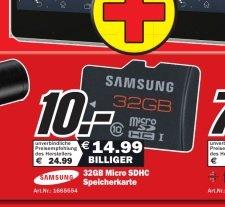 Samsung SDHC Class 10 UHS I 32Gb Micro SD Karte mit Adapter - 10 €
