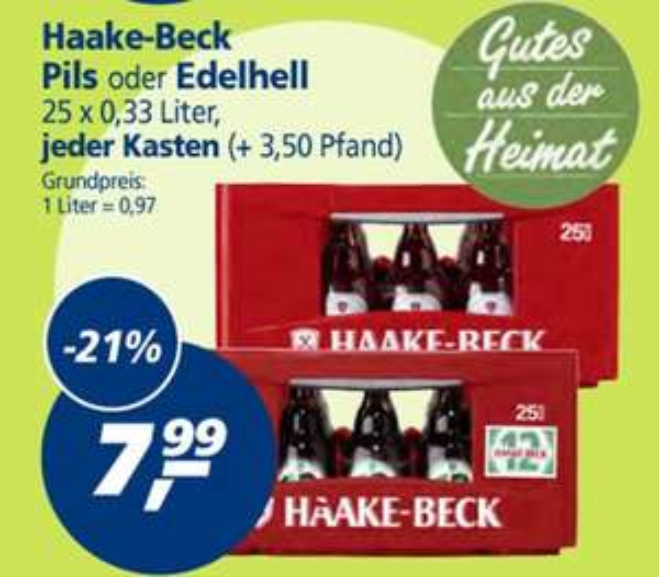 [REAL Bremen] Haake Beck Pils oder Edelhell 25x0,33 für 7,99€ + Pfand