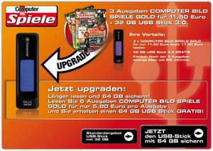 3x ComputerBILD Spiele GOLD + 32 GB Transcent 760 Jetflash USB 3.0 Stick