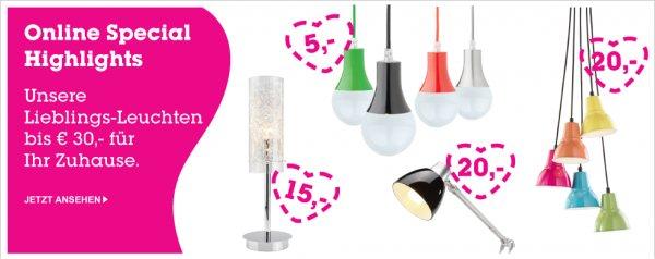 Hänge- und Tischlampen ab 7,95 bis 32,95 Euro, inkl VSK