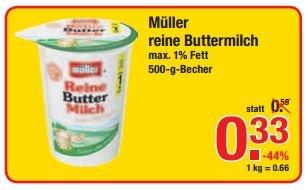 [V-MARKT] Müller Buttermilch 500ml für 0,33€