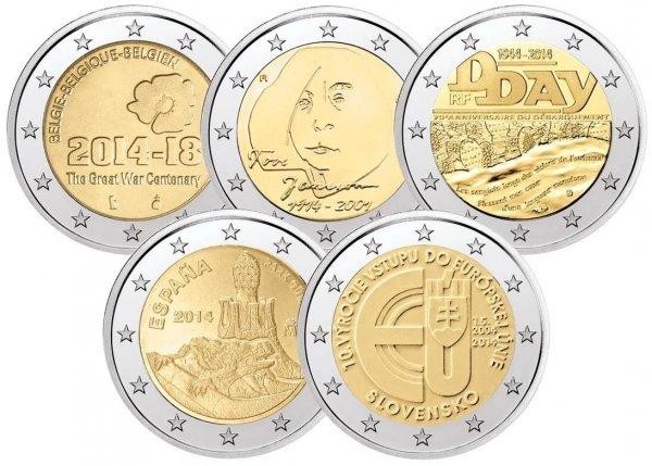 ebay WOW ; Bankfrische 2€ Münzen 5 Stück für 10,-€