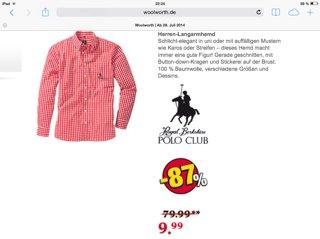 Herren Langarmhemd von Polo Club bei Woolworth 87 % günstiger