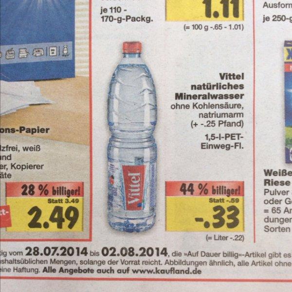 [lokal Nordbayern] Vittel Mineralwasser 1.5l für 33 Cent (22 Cent für den Liter) + 25 Cent Pfand