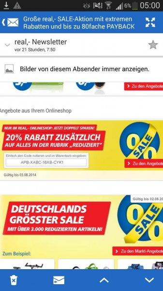real Onlinekäufe mit 20% Gutscheincode