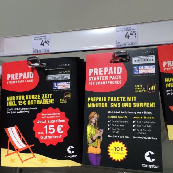 Congstar Prepaidkarten mit 15€ Startguthaben bis 31.08.2014