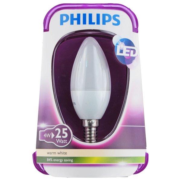 Restposten Philips B35 E14 LED Kerze 4W (=25W) matt Kerze 3,99 €/Stück + VK