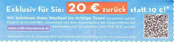 [LOKAL-MM] Oral-B Professional Care 1000 Sieger-Zahnbürste 19%-Aktion + 20€ Cash-Back für 22,11€