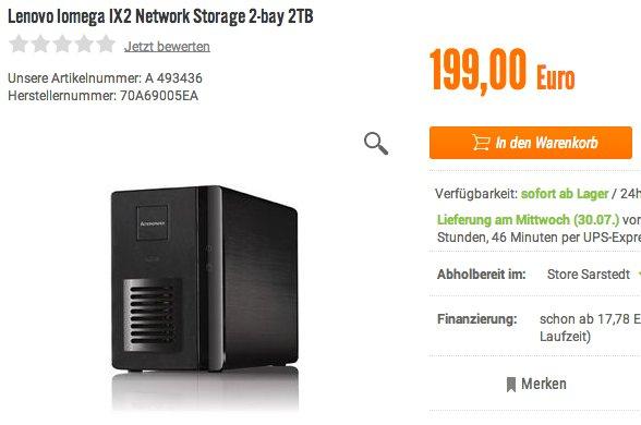 [notebooksbilliger.de] Lenovo Iomega IX2 Network Storage 2-bay inkl. 2 TB (99,- EUR statt 199,- EUR)