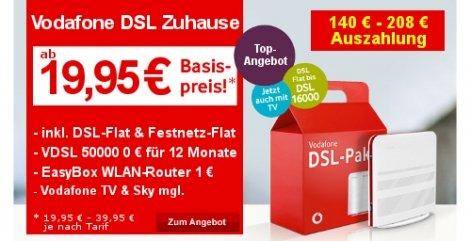 Vodafone DSL Zuhause M 16.000Kbit/s für effektiv 14,07€ im Monat über obocom.de