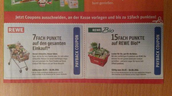 7-fach Payback Punkte (auf den gesamten Einkauf) bei Rewe durch Coupon + 15-fach Punkte auf Rewe Bio