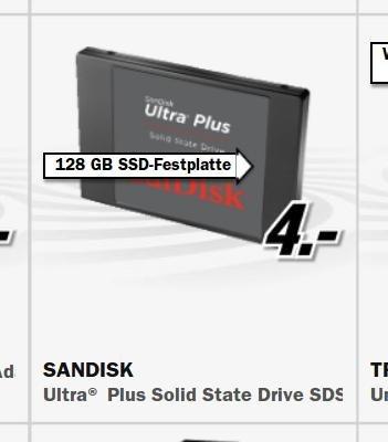 SanDisk Ultra Plus 128 GB SSD Interne Festplatte für 49 EUR @ MediaMarkt