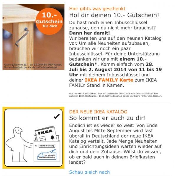 (Lokal Ikea Kamen) 10€ Ikea Gutschein gegen Ikea Inbusschlüssel