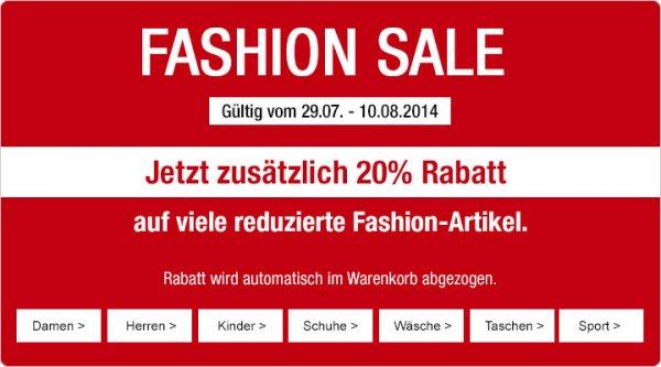 20% auf reduzierte Fashion-Artikel @ Galeria Kaufhof