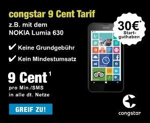 Congstar 9 Cent Tarif mit 30€ Startguthaben für 9,99€