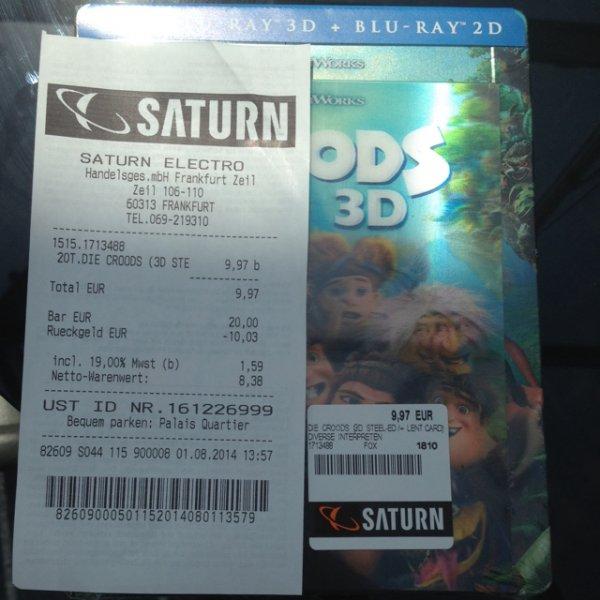 (Lokal FFM Saturn My Zeil) Die Croods 3D Steelbook
