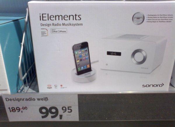 Sonoro Elements mit Iphone Doc, tchibo Prozente 99,95 statt 189