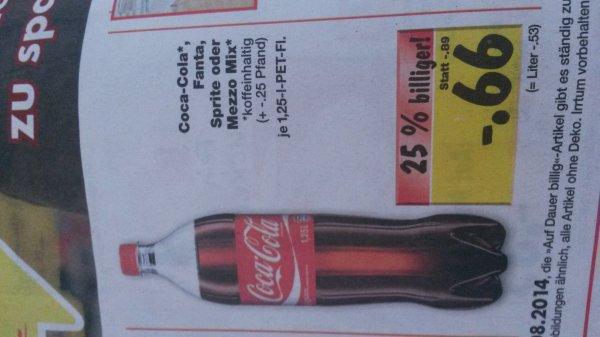 Coca Cola, Fanta, usw.1,25l für 0,66€ (Literpreis 0,53€) Kaufland Ba-Wü, evtl. bundesweit?