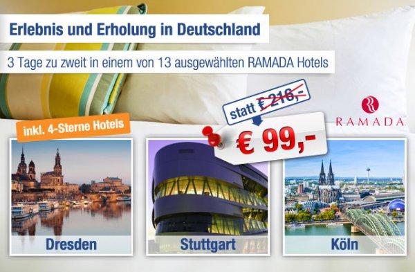 Ramada Gutscheine (für 13 Hotels) - 2 Übernachtungen + Frühstück für 2 Personen für 99€