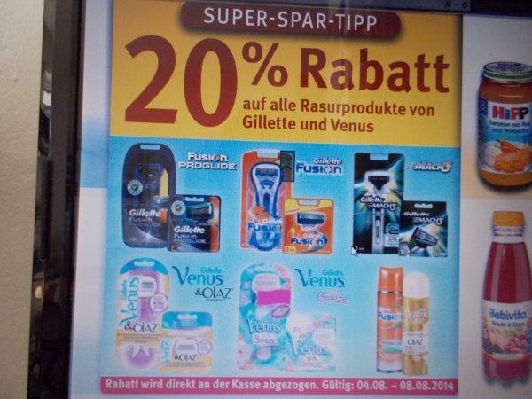 Bundesweit bei Rossmann, 20% auf alle Rasurprodukte von Gillette und Venus