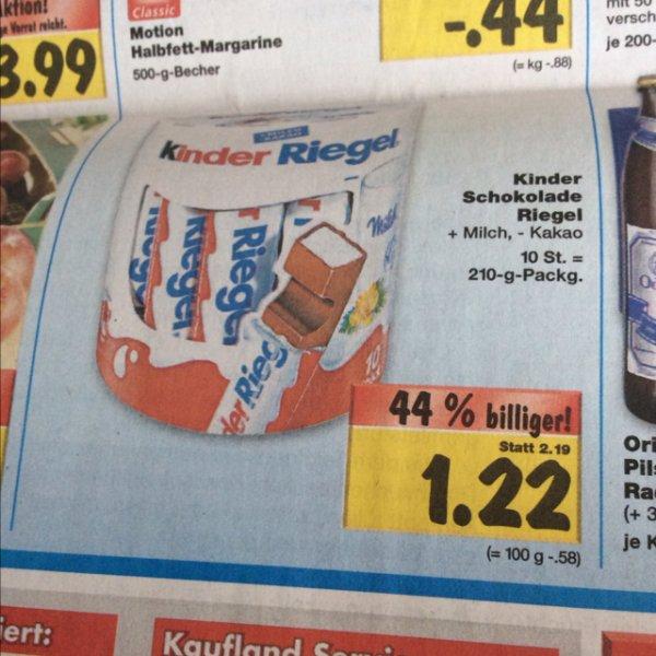 [Lokal Bayern] Kaufland Kinder Schokolade 10 Riegel für 1.22€