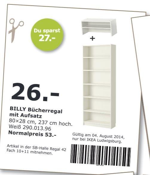 [IKEA Ludwigsburg] BILLY Bücherregal mit Aufsatz für 26€ statt 53€ (Weiß, 80×28 cm, 237 cm hoch)