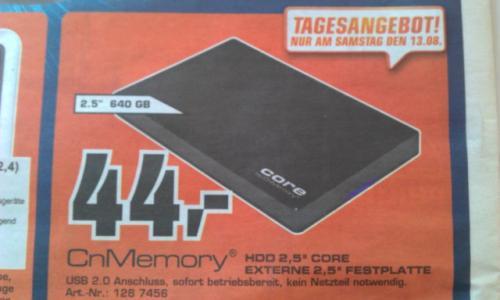 ">>LOKAL<< CnMemory HDD 2,5"" Core 640 GB, externe Festplatte  ||  44,- € @Saturn Esslingen"