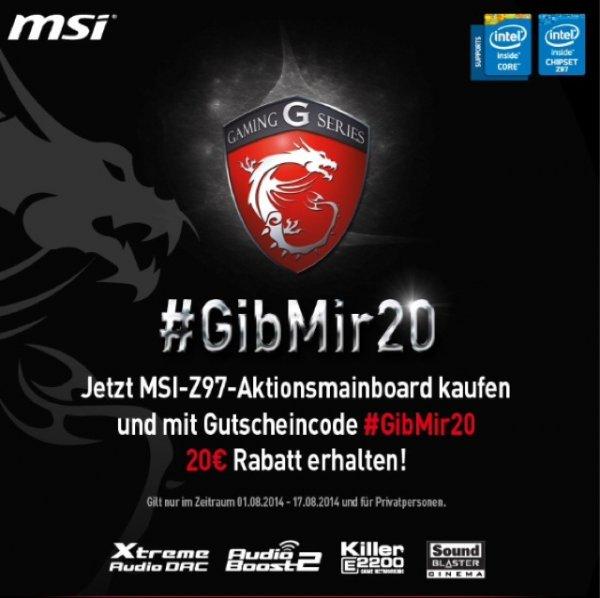 20€ Rabatt auf MSI Z97 Mainboards @Mindfactory