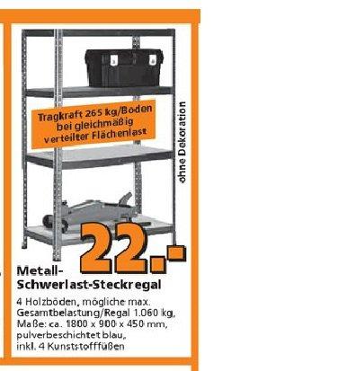 Globus Baumarkt Metall-Schwerlast-Steckregal 265kg/Boden für 22 Euro