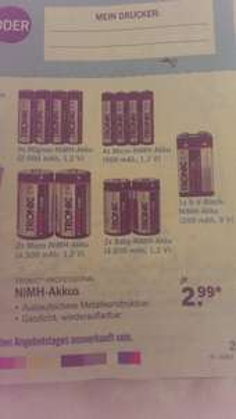[LIDL Bundesweit!] 4x AA oder AAA NiMH-Akkus (2.500 mAh, 1,2V/ 900 mAh, 1,2 V) nur 2,99€ ! AB 14.AUGUST