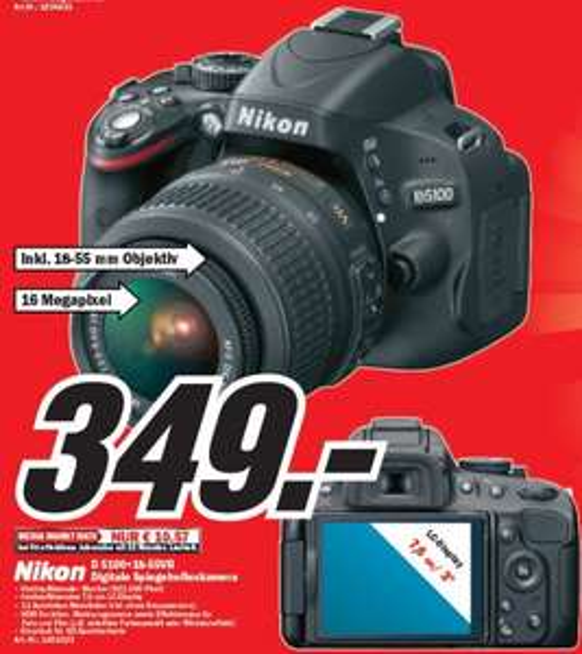 Nikon D5100 Kit 18-55 mm [Nikon VR] für 349€ Lokal [Mediamarkt Düsseldorf(metrostraße)]