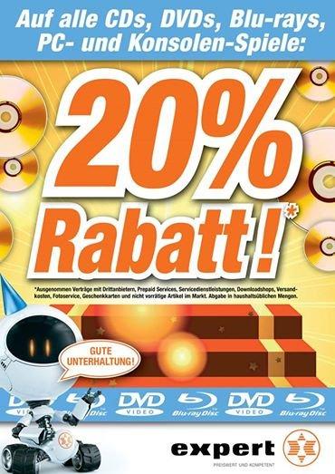 20% auf alle CDs, DVDs, Blu-Rays, PC- und Konsolen-Spiele bei expert Bielinsky in Bonn am Dickobskreuz