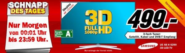 Media Markt Schnapp des Tages: 8./9.8.2014 - Samsung LED-Fernseher UE48H6290 - im MM vorort und im Onlineshop wieder erhältlich mit Trick!!!