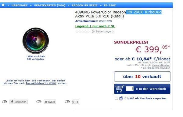 4096MB PowerColor Radeon R9 290X TurboDuo für 399,05€ excl